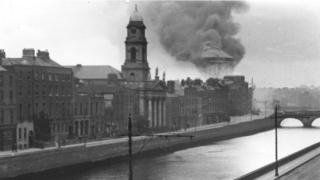 Image of Public Records Office Ireland in smoke in background