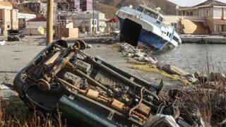Destruction in Road Town, Tortola, British Virgin Islands