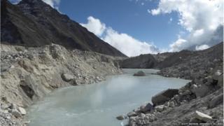 A superglacial pond in Khumbu glacier
