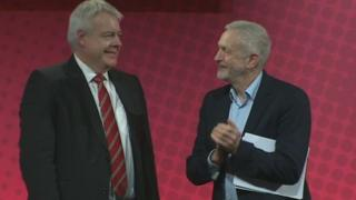 Carwyn Jones and Jeremy Corbyn after Mr Corbyn's speech