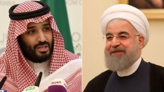 Saudi Crown Prince Mohammed bin Salman (L) and Iranian President Hbadan Rouhani
