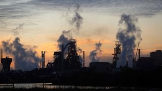 Port Talbot steel works at sunset