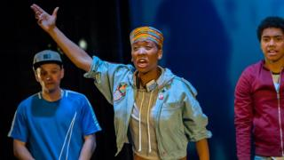 Archie Rush as Mack, Genesis Lynea as Queenie and Chance Perdomo as Theo in Ode To Leeds