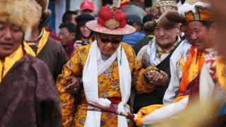 Jigme Palbar Bista, the former King of Upper Mustang, at the Tenchi Festival in Upper Mustang, 26 May 2014