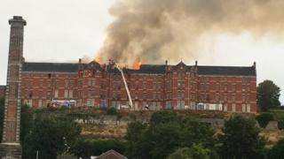 Fire at the former St Kevin's Hospital in Shanakiel
