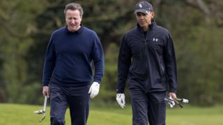 Mr Cameron and Mr Obama playing golf