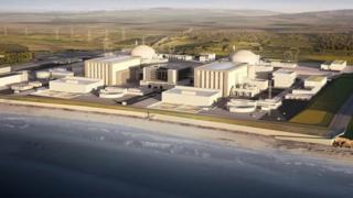 Hinkley Point nükleer enerji santralinin planlanan görünümü