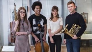 Saxophonist Jess Gillam, cellist Sheku Kanneh-Mason, Nicola Benedetti and horn player Ben Goldscheider