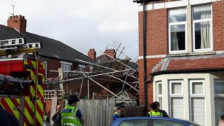 Collapsed scaffolding at a Cardiff house