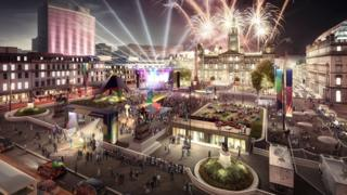 Artist's visualisation of a George Square cultural festival