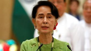 Myanmar State Counsellor Aung San Suu Kyi at a news conference with India's Prime Minister Narendra Modi in Naypyitaw, Myanmar, 6 September 2017