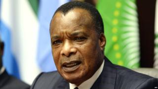Denis Sassou Nguesso attends a conference on the Ebola epidemic in the Belgian capital Brussels in 2015.