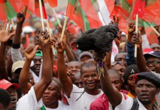 Suporters of Isaias Samakuva (not pictured), the candidate of the UNITA holding a black rooster, the symbol of the party during the closing campaign rally in Luanda, Angola
