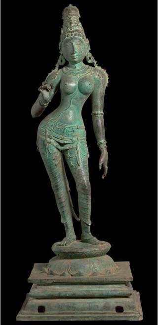 Picture of the 11th Century statue of Hindu goddess Uma Parameshvari