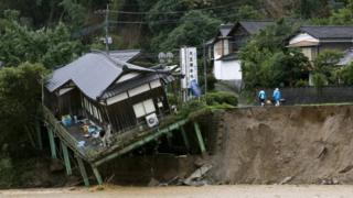 A demolished house in Asakura, in south-western Japan, 7 July 2017