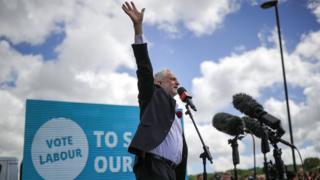 Jeremy Corbyn, addressing a crowd