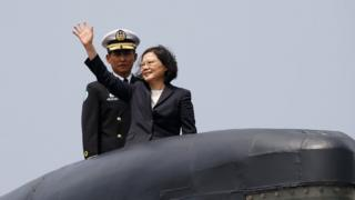Taiwan's president, Tsai Ing-wen, touring the island's current fleet of submarines in March