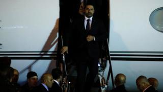 Saad Hariri arrives at Beirut's international airport, Lebanon, November 21, 2017