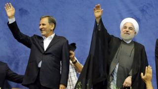 Vice-President Eshaq Jahangiri and President Hassan Rouhani attend a rally in Tehran on 13 May 2017