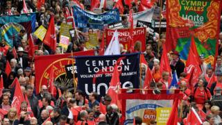 Demonstrators gather in London for a protest organised by the Trades Union Congress