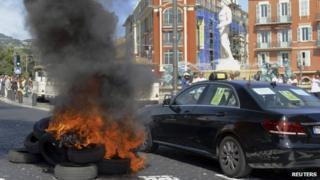 Anti-Uber protests in Nice