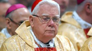Cardinal Bernard Law attends the Chrism Mass celebration at St Peter's Basilica on March 24, 2005 in Vatican City