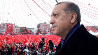 "Turkey""s President Recep Tayyip Erdogan addresses his supporters in Sakarya, Turkey, Thursday, March 16, 2017"