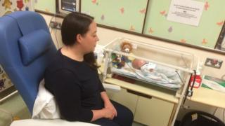 Leanne Hughes and her baby Jude try out new equipment