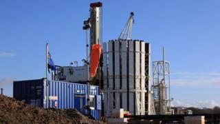 Fracking test drilling site