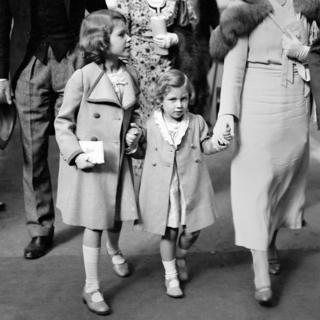 The Duchess of York (right) with Princess Elizabeth and Princess Margaret arriving at Olympia for the International Horse show