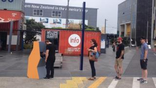 "People using a Moodbank ""cash"" machine in Auckland, New Zealand."