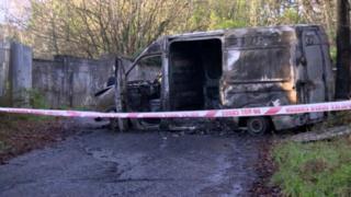 The van has been totally destroyed