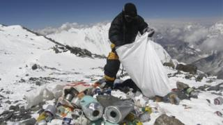 Mount Everest covered in litter