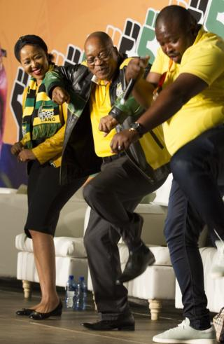 South Africa President Zuma dances on stage during his 75th birthday celebrations, in Soweto. EPA Photo, 12 April 2017