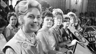 Women opposed to Equal Rights Amendment sit with Phyllis Schlafly, left, in Kansas City on 10 August 1972