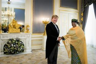 King Willem-Alexander of the Netherlands (L) receives the letter of credence from the ambassador of Chad, Ammo Aziza Baroud, at Palace Noordeinde in The Hague, the Netherlands, on September 6, 2017.