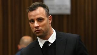 South African Paralympian Oscar Pistorius looks on on the third day of his hearing at the Pretoria High Court for sentencing procedures in his murder trial in Pretoria on June 15, 2016