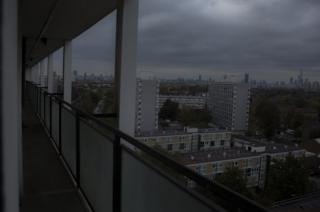 The view from the balcony of a high-rise