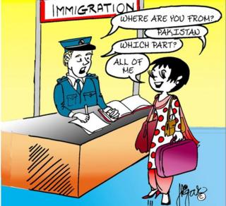 """Comic strip showing Gogi speaking with an immigration officer. He asks her: """"Where are you from?"""" She replies """"Pakistan"""". He asks: """"Which part?"""" and she replies: """"All of me""""."""