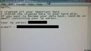 The message Ken Main received on his company computer demanding a ransom for the release of his data.