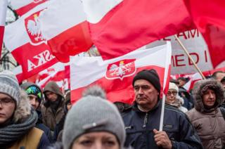 Conservative PiS supporters marching in Warsaw, 13 Dec 15