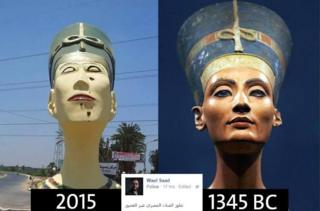 On the right: the famous bust of Nefertiti in the Neues museum in Berlin. On the left: the replica that sparked an outcry in Egypt. Facebook user Wael Saad commented: 'This is how Egyptian art has evolved over the years'