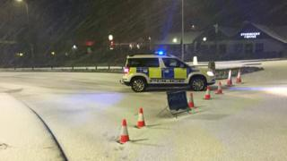 Police at roundabout