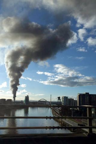 View of Glasgow scrapyard fire