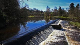 Looking upstream from Midcalder Weir on the River Almond