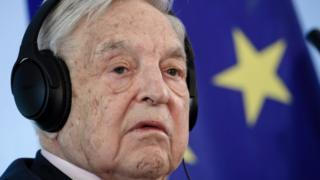 The Chairman of the Open Society Foundations, George Soros, attends a press conference in Berlin, Germany, on 8 June 2017