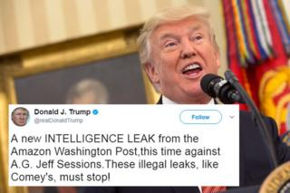 "A picture of Donald Trump, overlaid with one of his tweets reading ""a new INTELLIGENCE LEAK from the Amazon Washington Post,this time against A.G. Jeff Sessions.These illegal leaks, like Comey's, must stop!"""