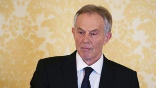 Tony Blair facing media after Chilcot report