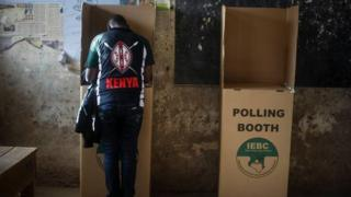 A man at the poll booth in Kenya.
