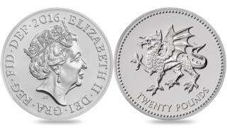 Commemorative £20 coin featuring the Welsh dragon
